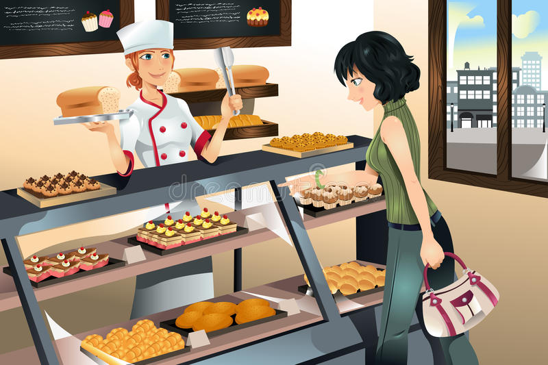 Buying cake at bakery store vector illustration