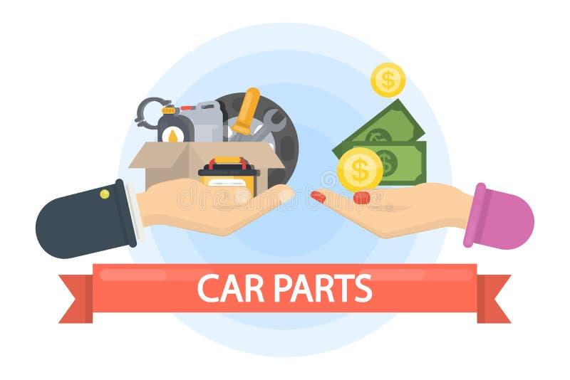 Buying car parts. royalty free illustration