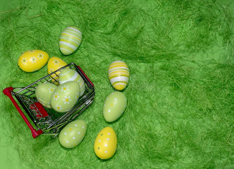 Buying a Easter eggs from supermarket, Easter eggs in shopping c stock photography