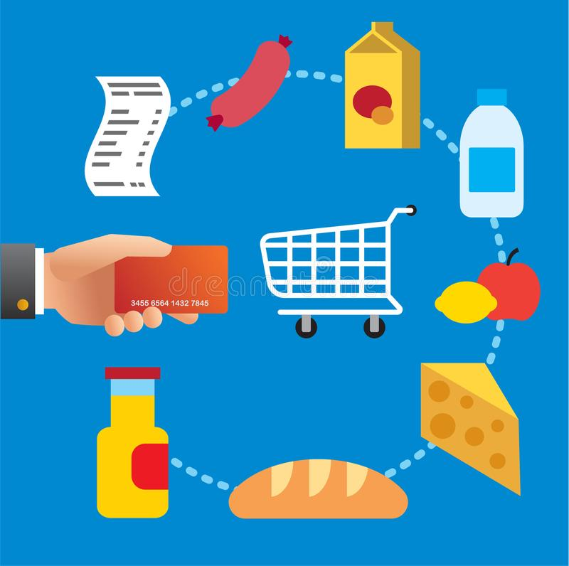 Buying food meal in supermarket royalty free illustration