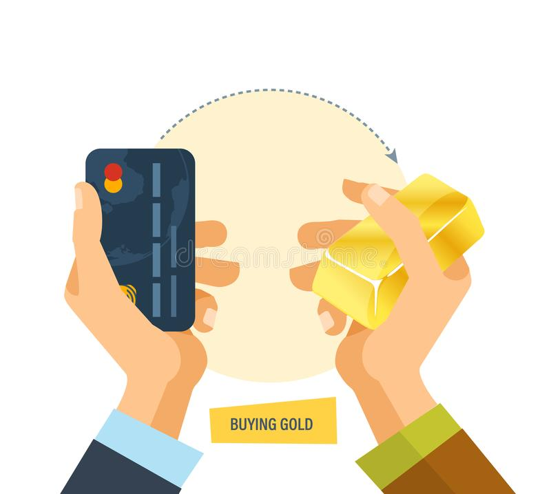 Buying gold. Hands hold bank card, an ingot of gold. Buying gold. Hands hold a bank card and an ingot of gold. Concept of a financial transaction of buying and royalty free illustration