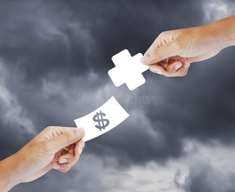 Buying health, insurance concept. Buying health shopping for health care, insurance concept stock images
