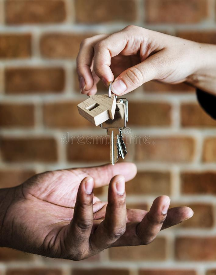 Buying home real estate agreement concept stock images