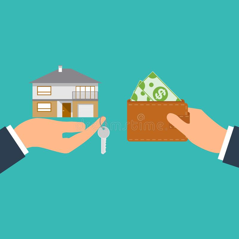 Buying house. Agent of real estate holding in hand house, key. Buyer, customer gives money bag. Deal sale and purchase vector illustration