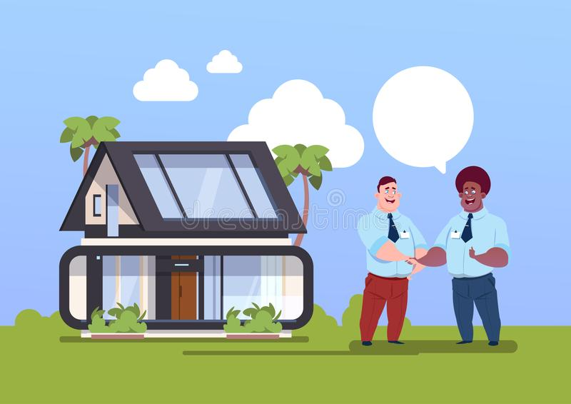 Buying House Concept Agent And New Owner Shaking Hands Over Home Exterior. Flat Vector Illustration stock illustration