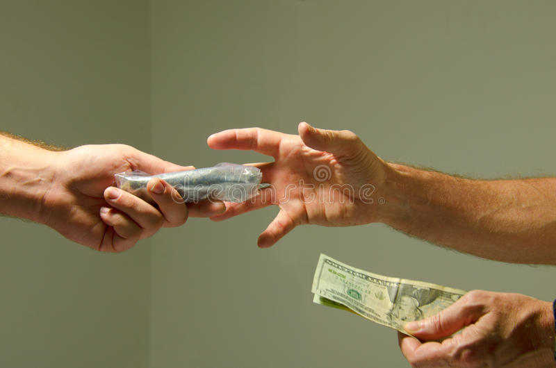 Buying marijuana drugs illegal sale for cash money stock photography