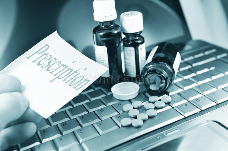 Buying Medicine On-line Stock Photography