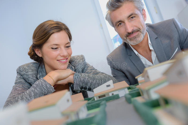 Buying new house and lot stock photos