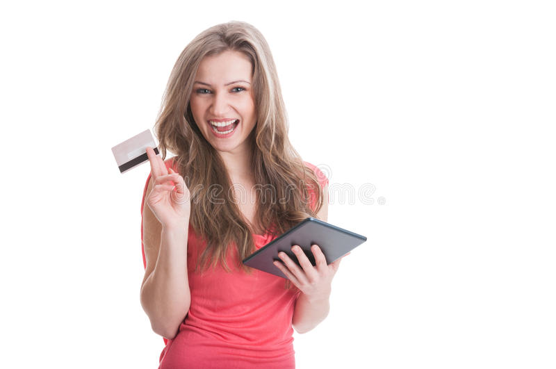 Buying online using a credit or debit card concept royalty free stock photos