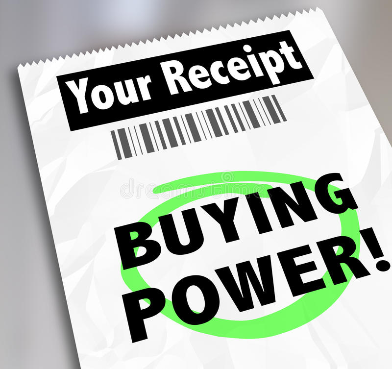 Buying Power Words Paper Receipt Purchase Shopping Saving Money royalty free illustration