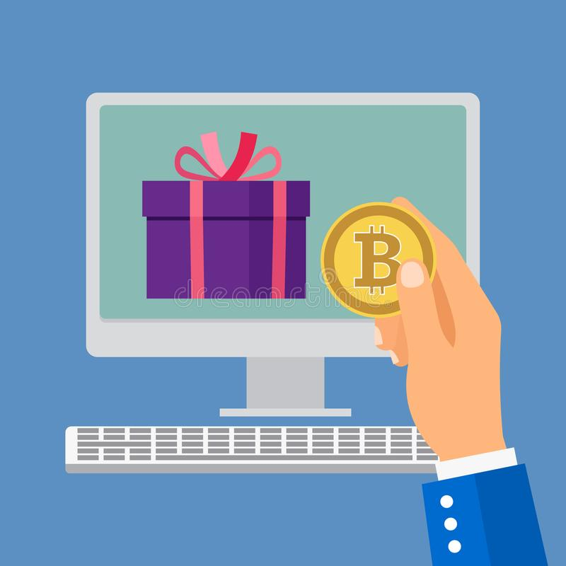 Online shopping with bitcoin stock illustration