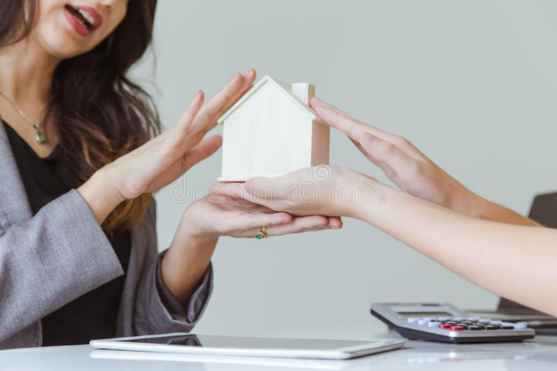Buying rental home sale agency give new home. Ready to move in concept royalty free stock photos