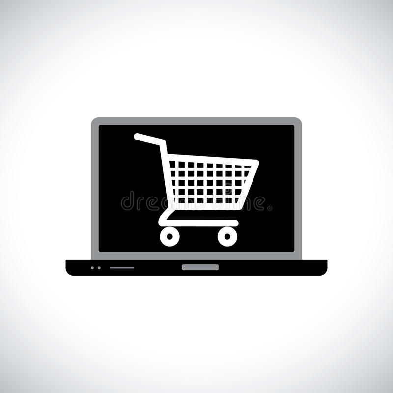 Buying or shopping online using computer vector illustration