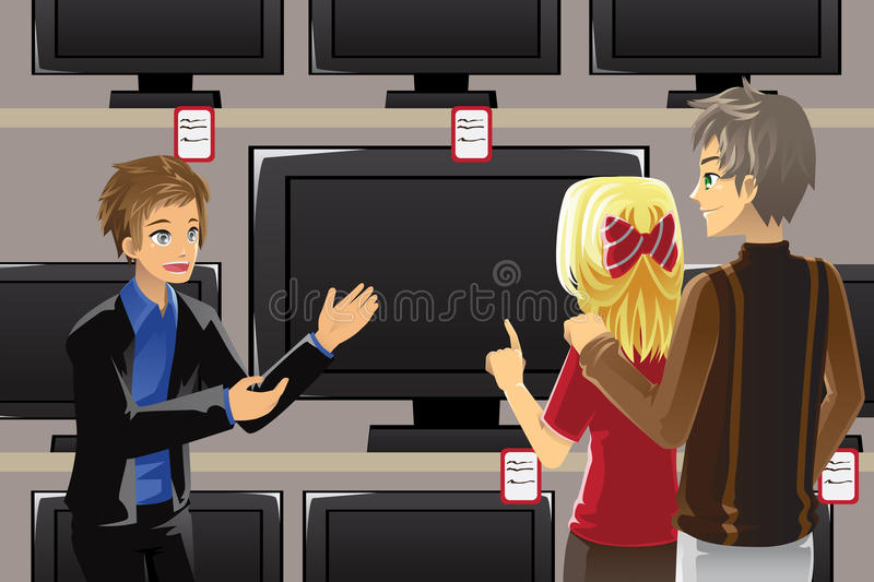 Buying television. A vector illustration of a salesman selling television to customers stock illustration