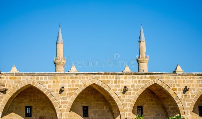 Buyuk Han en Selimiye-Moskee royalty-vrije stock afbeelding