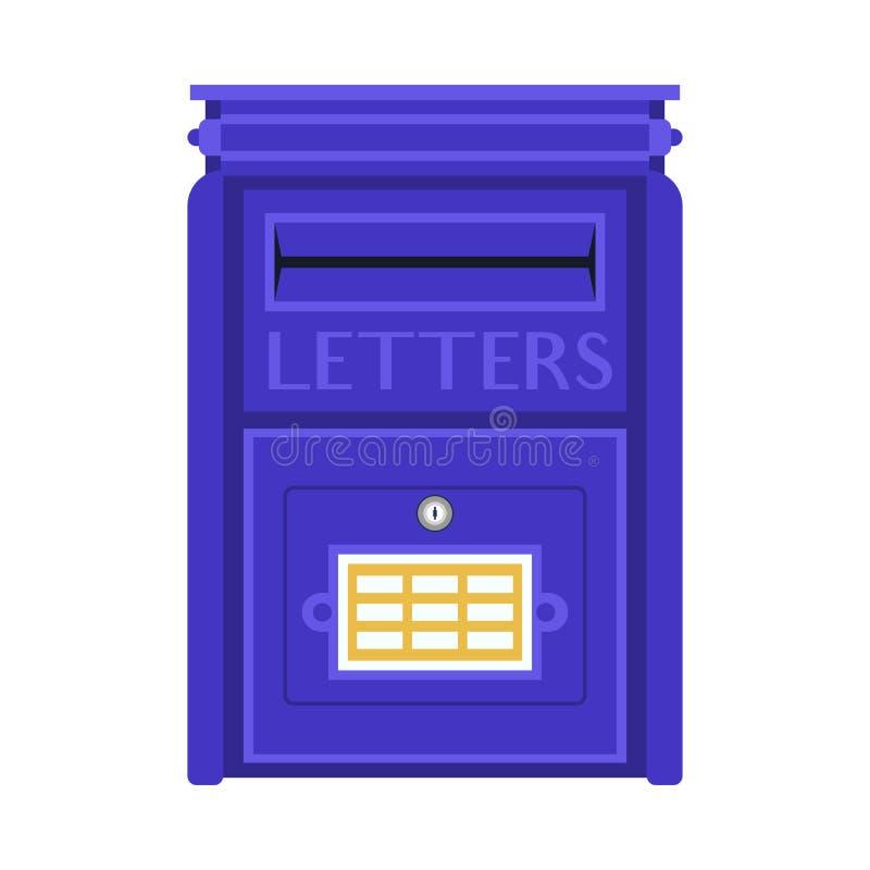 Buzón azul retro stock de ilustración