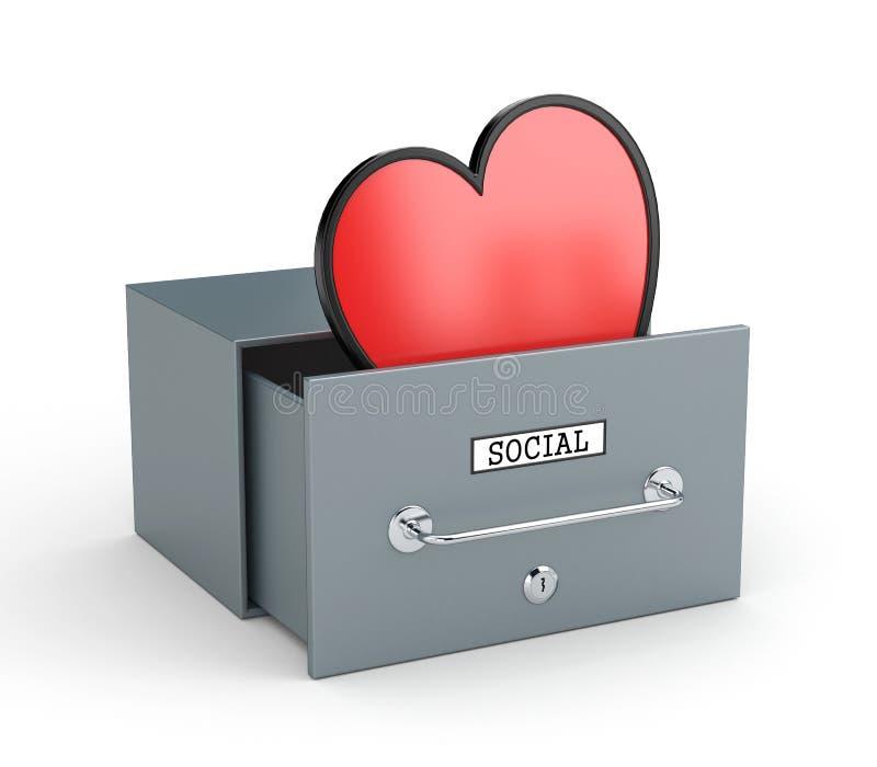 Buzón con el corazón - como en redes sociales Metáfora social de las redes ilustración del vector
