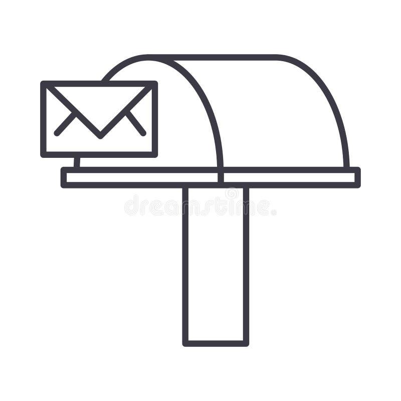 Buzón de correos, línea icono, muestra, ejemplo del vector de la entrega del correo electrónico en el fondo, movimientos editable ilustración del vector