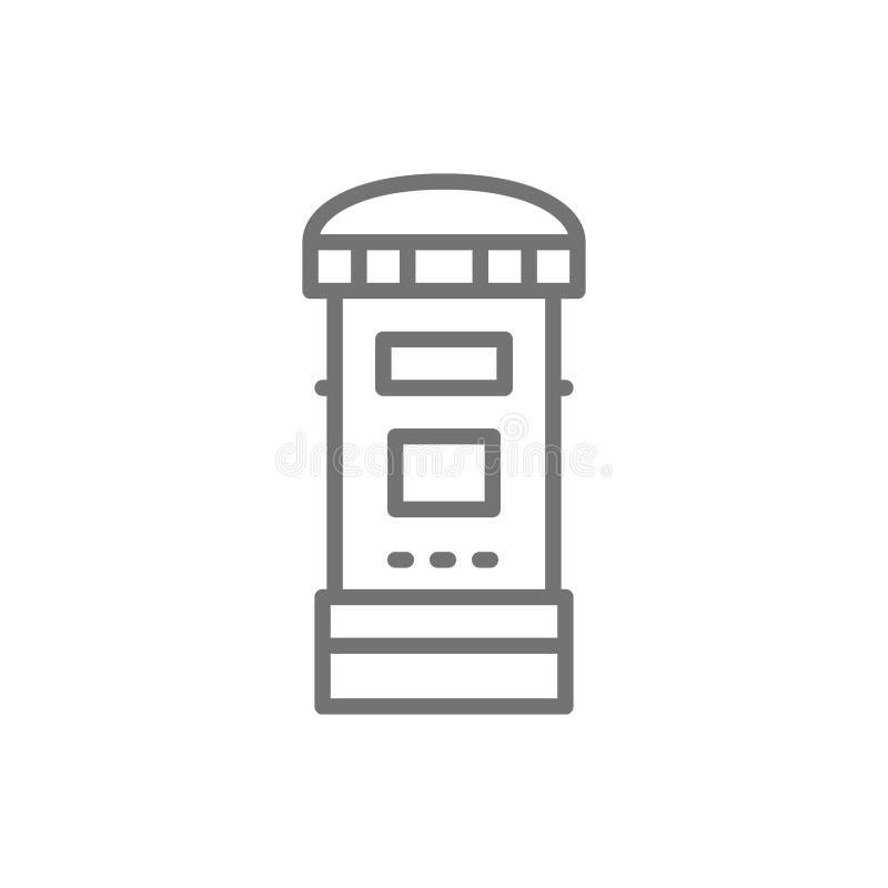 Buzón de correos tradicional de Londres, poste, línea icono del buzón stock de ilustración