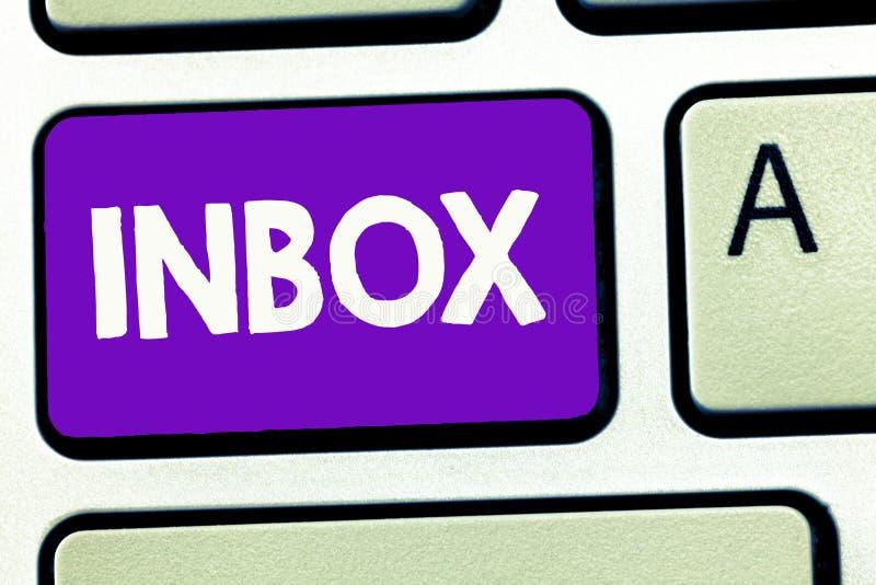 Buzón de entrada de la escritura del texto de la escritura Concepto que significa la carpeta electrónica en la cual los correos e foto de archivo libre de regalías