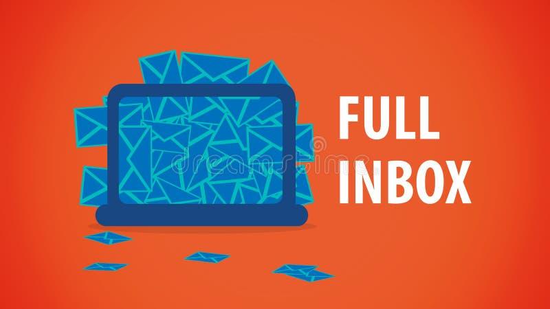 Buzón de entrada lleno de la mesa del correo electrónico stock de ilustración