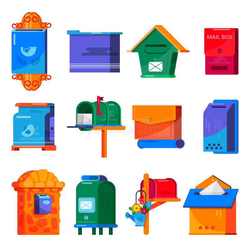Buzón del poste del vector del buzón o sistema de envío postal del ejemplo de la caja de letra de buzones de los buzones de corre stock de ilustración