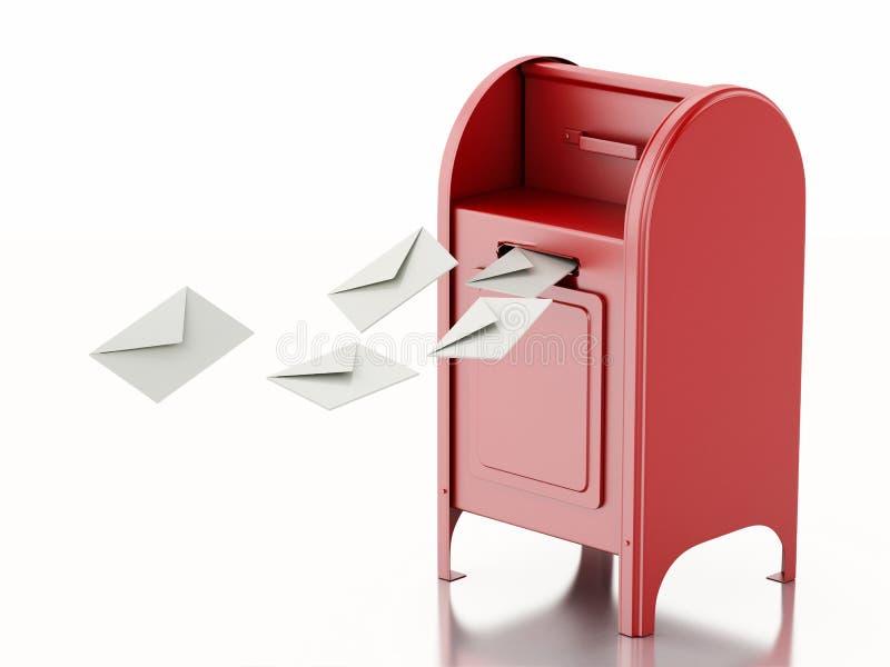 buzón rojo 3d con el montón de letras ilustración del vector