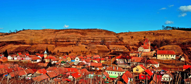 Buzd, Oud middeleeuws dorp en versterkte kerk transsylvanië royalty-vrije stock fotografie