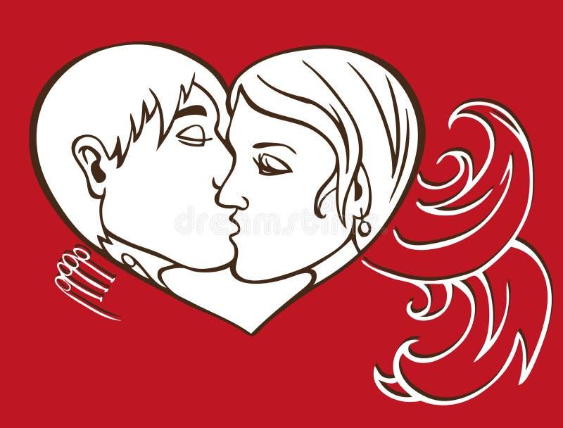 Buziak i serce royalty ilustracja