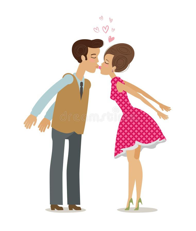 Buziak, miłość, romansowy pojęcie całowanie się pary obcy kreskówki kota ucieczek ilustraci dachu wektor royalty ilustracja