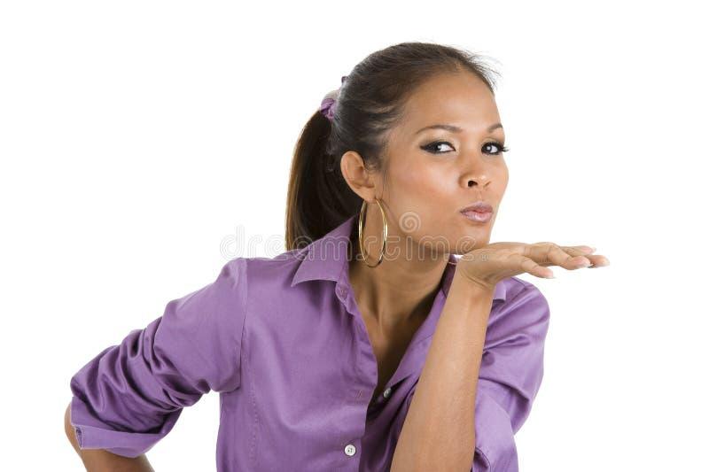 buziak podmuchowa kobieta fotografia stock