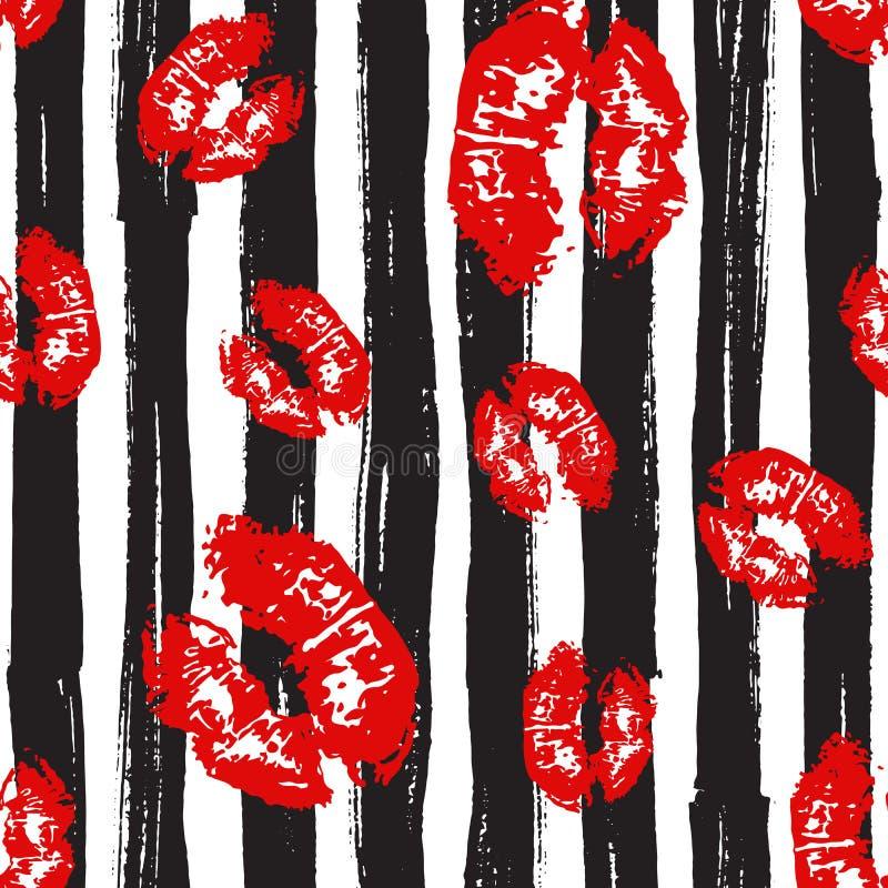 Buziak, wargi Bezszwowy Deseniowy tło Wektorowa ilustracja odizolowywająca na bielu ilustracja wektor