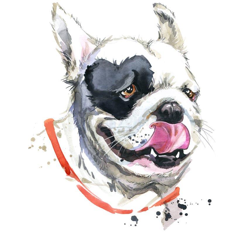 Buziaka Francuskiego buldoga koszulki grafika Psia ilustracja z pluśnięcia akwarela textured tłem Niezwykła ilustracja royalty ilustracja