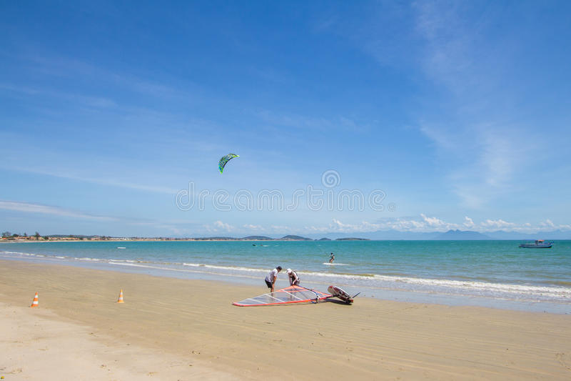 BUZIOS, RJ/BRAZIL - MARCH 11 2017 Kite Surf in Buzios. Kite Surf in Buzios, Rio de Janeiro, Rj, Brazil royalty free stock photos