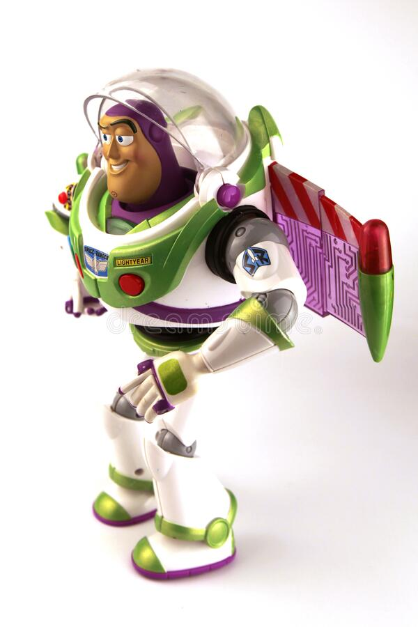 Buzz Lightyear is a character from the movie series Toy Story. Buzz Lightyear is a character from the animated movie series Toy Story created by Dreamworks royalty free stock photo