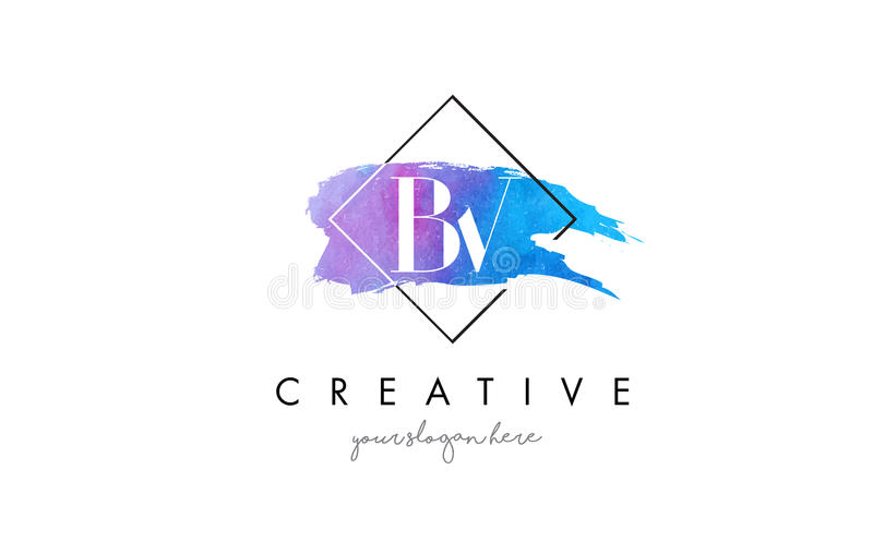 BV Artistic Watercolor Letter Brush Logo. stock illustration