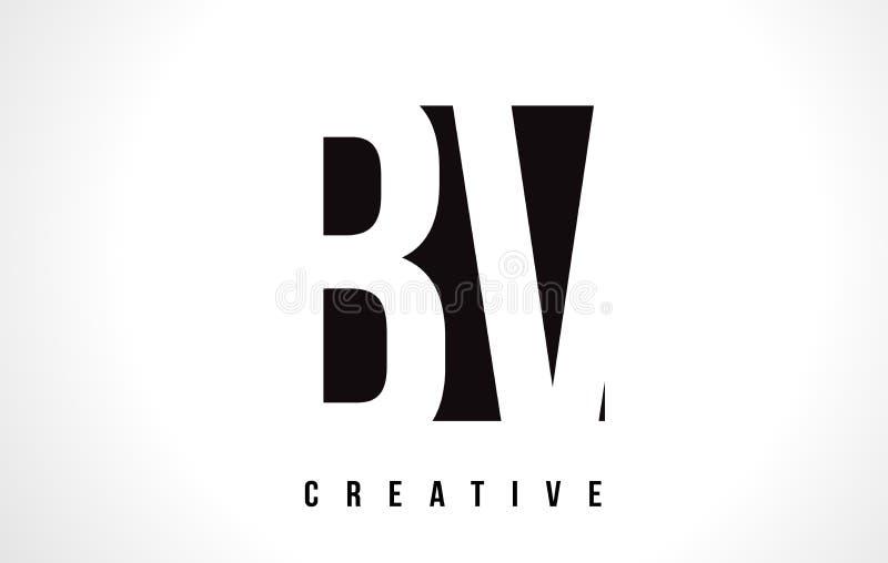 BV B.V. Branco Letra Logo Design com quadrado preto ilustração stock