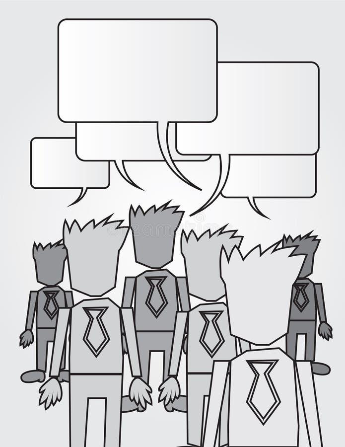 BW пузырей речи работников дела иллюстрация штока