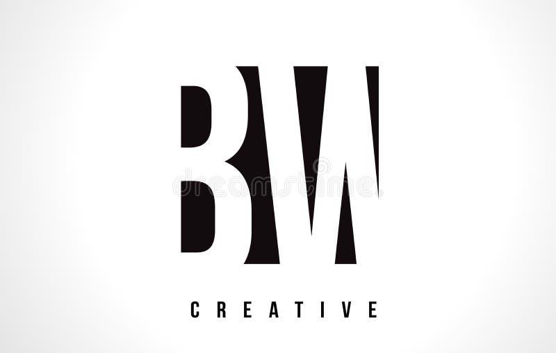 BW b W bielu listu loga projekt z Czarnym kwadratem ilustracja wektor