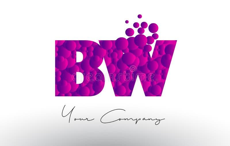 BW B W Dots Letter Logo con textura púrpura de las burbujas libre illustration
