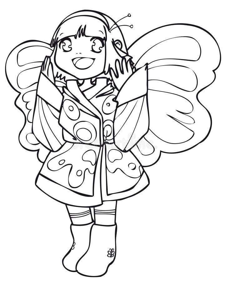 BW - Bambino di Manga con un costume della farfalla illustrazione di stock