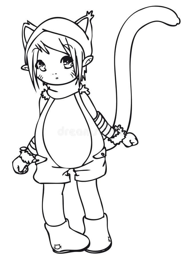 BW - Cabrito de Manga con un traje del gato imagen de archivo libre de regalías