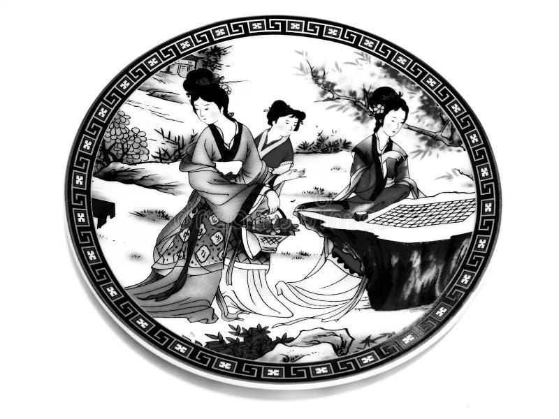 BW chino del platillo de la porcelana fotos de archivo libres de regalías