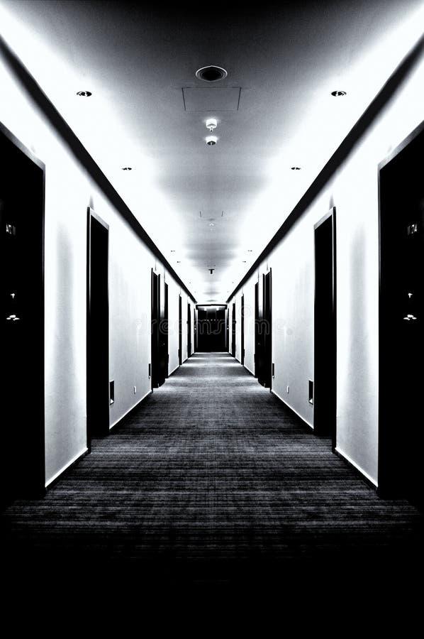 empty corridor with doors stock photo