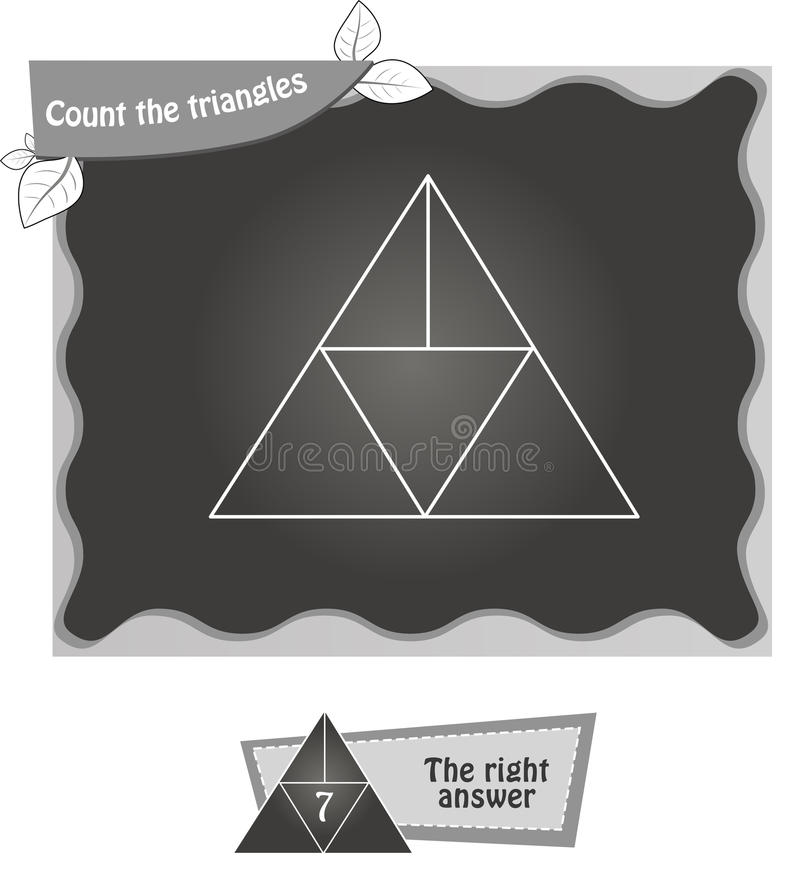 BW Count the triangles 1. Visual game for children. Task: count the triangles. black and white illustration vector illustration