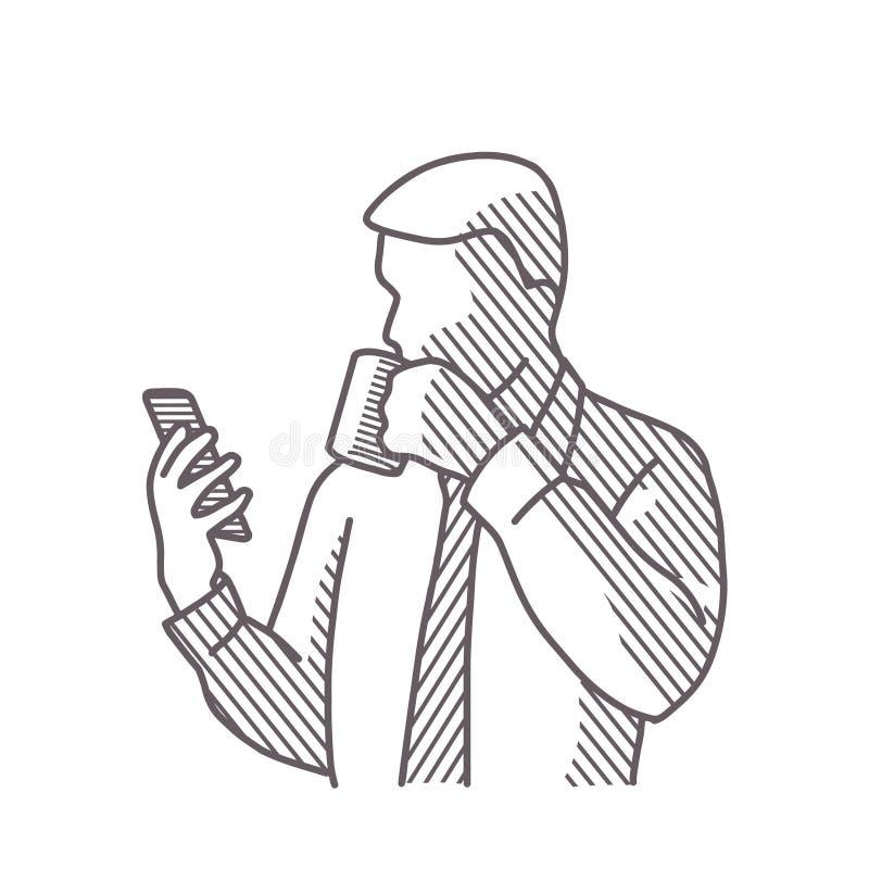 Bw de la foto del hombre del dibujo libre illustration