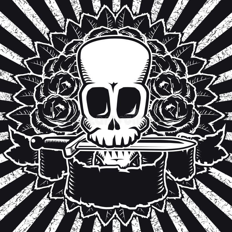 BW de las rosas del cráneo ilustración del vector
