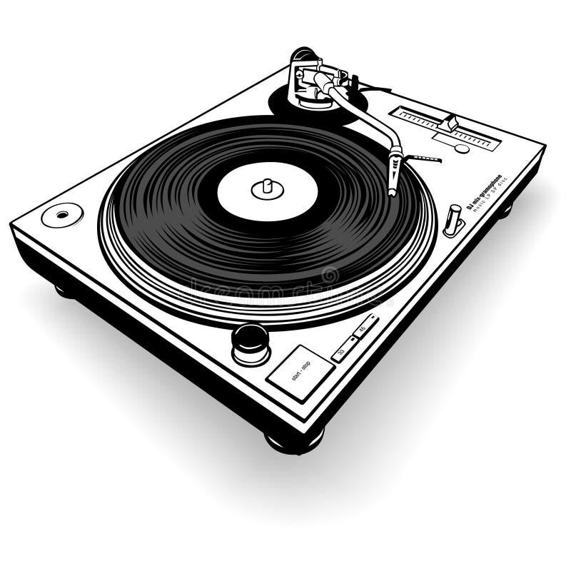 BW del gramófono de DJ stock de ilustración