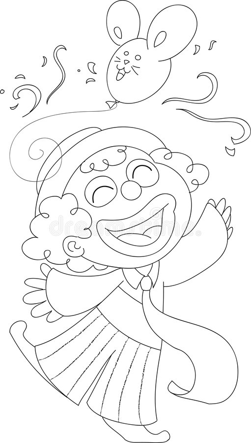 BW feliz do palhaço ilustração do vetor