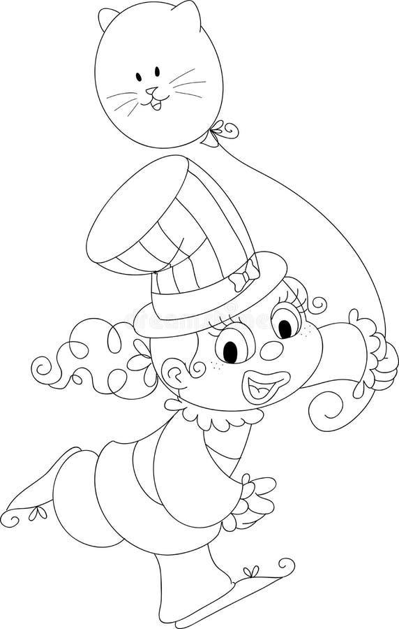 BW feliz do palhaço da menina ilustração royalty free